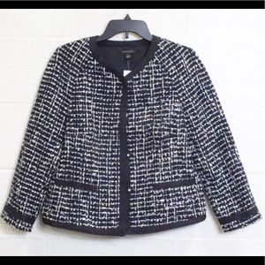 NEW ANN TAYLOR Blue/White Boucle Blazer-Size Med